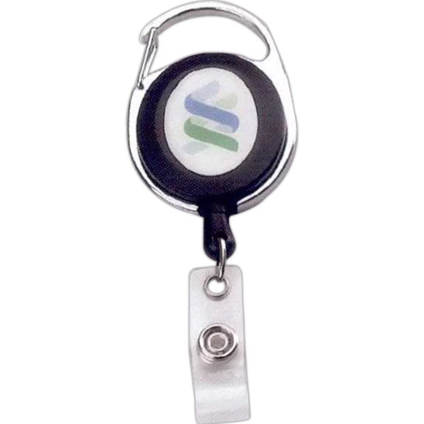 Custom Metal / plastic carabiner retractable badge reel