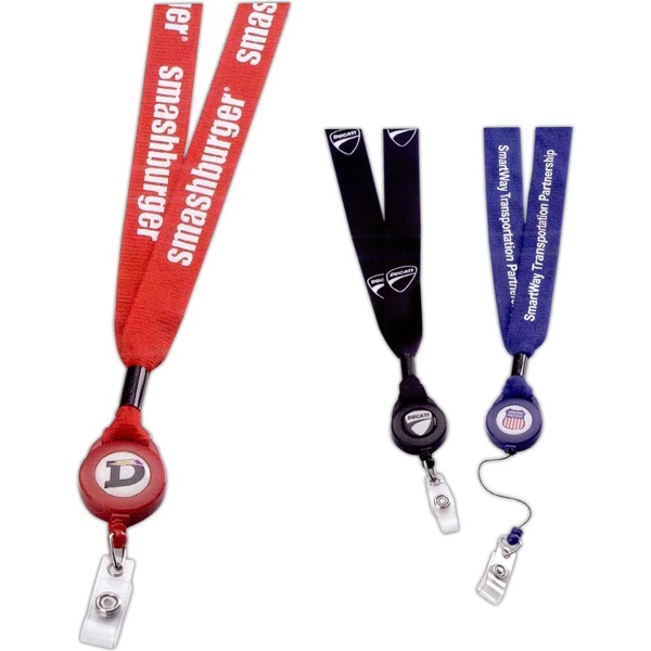 Imprinted Polyester lanyard with retractable badge reel