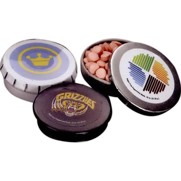 Promotional Large Round Mint Push Tin