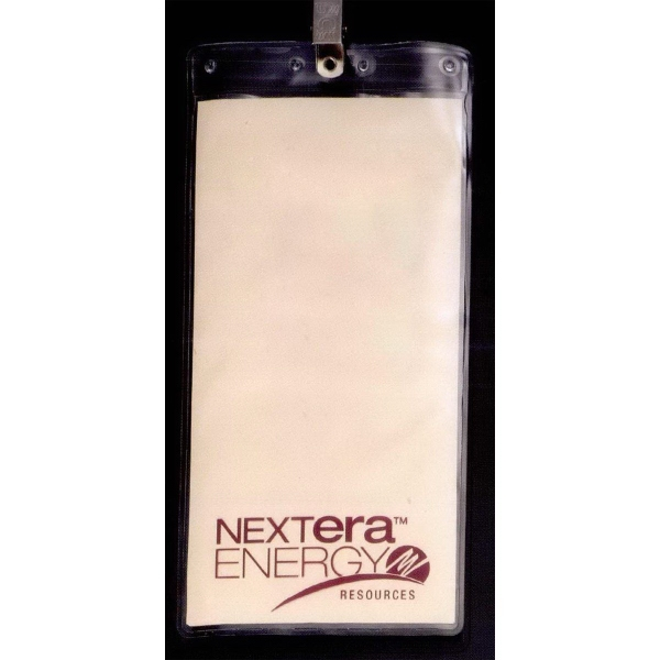 Printed Oversized Vertical Vinyl Pouch with Bulldog Clip