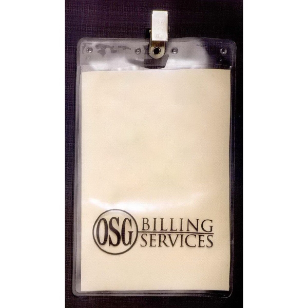 Promotional Large Vertical Vinyl Pouch with Bulldog Clip