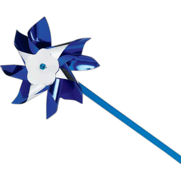 "Custom 4"" Blue and Silver Pinwheel (Imprinted)"
