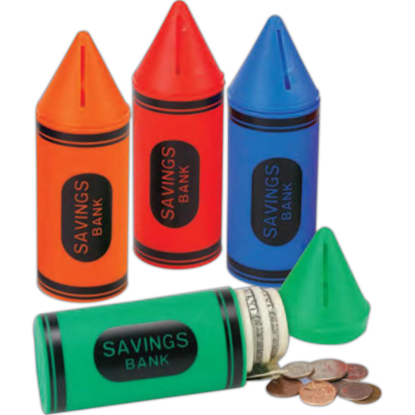 Custom Crayon Shaped Bank with Stock Graphics (Blank)