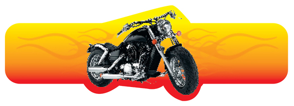 Promotional Motorcycle with Flame Shaped Beverage Wrap