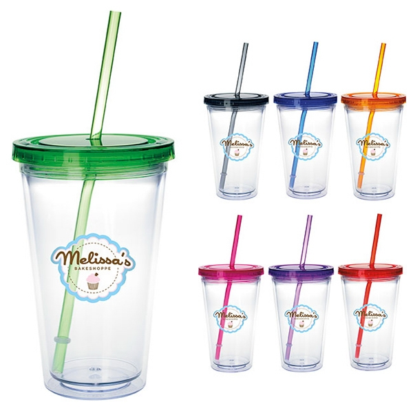 Custom Clear Tumbler with Colored Lid - 18 oz