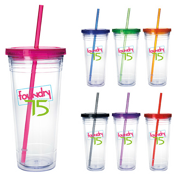 Customized Clear Tumbler with Colored Lid - 24 oz