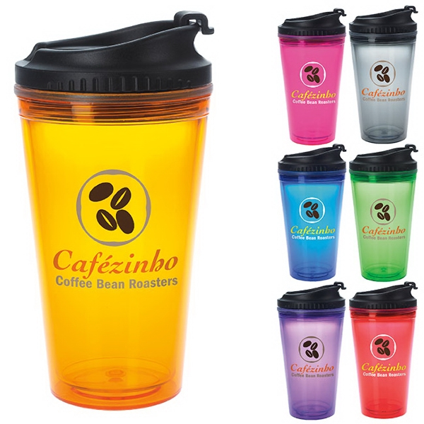 Promotional Colored Tumbler with Black Lid - 18 oz