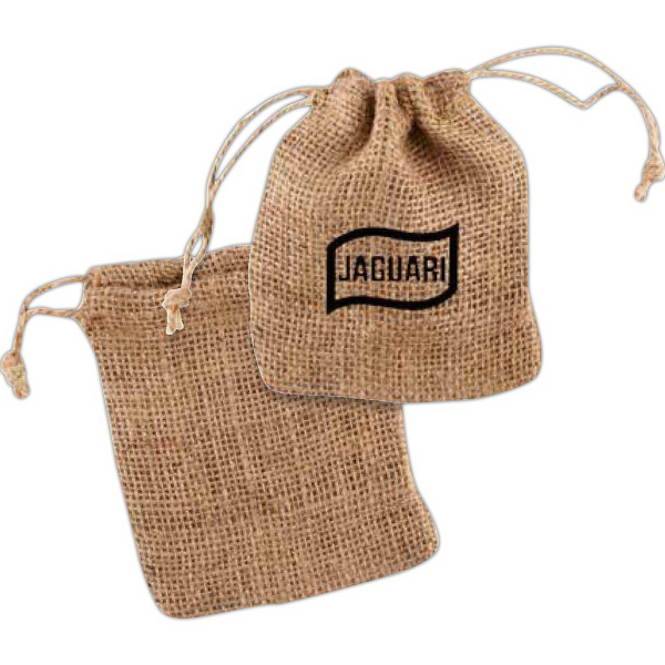 Imprinted Rough Burlap Drawstring Pouch
