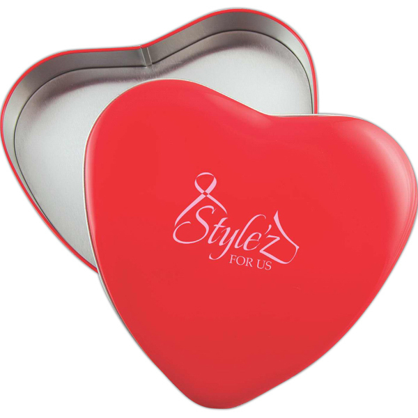 Imprinted Heart Shaped Tin