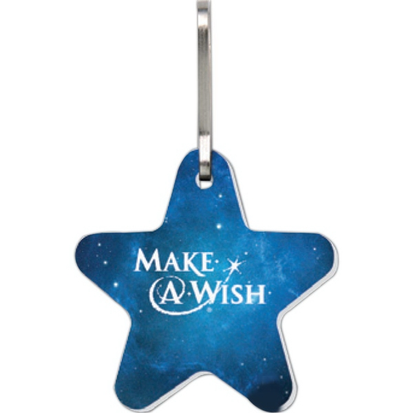 Imprinted Bag & Luggage Tag (Zipper Pull) - Large Star - Full Color