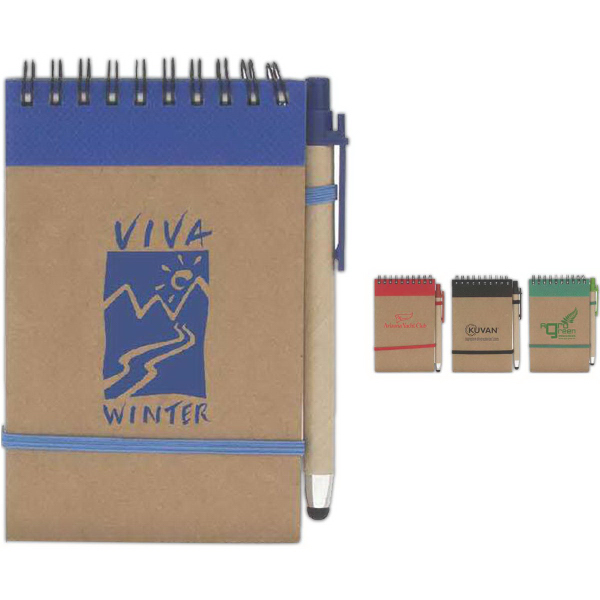 Promotional Colorful Recycled Jotter w/ Stylus