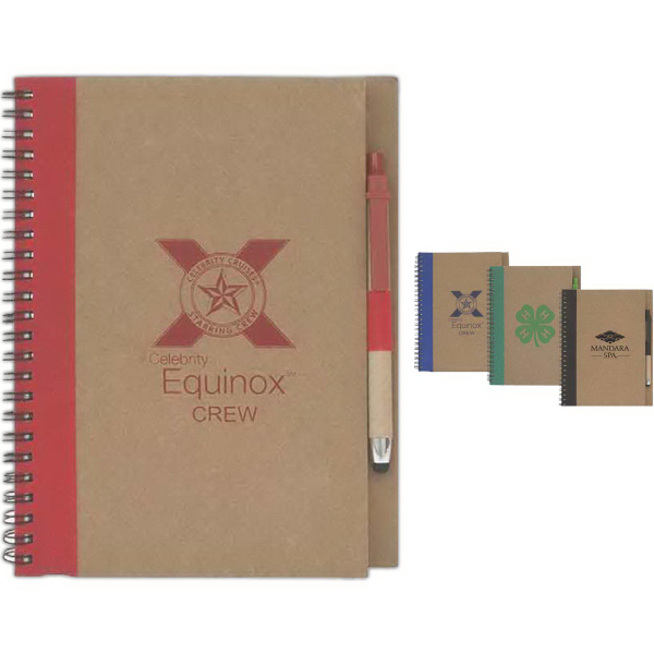 Printed Colorful Recycled Notebook w/ Stylus Pen