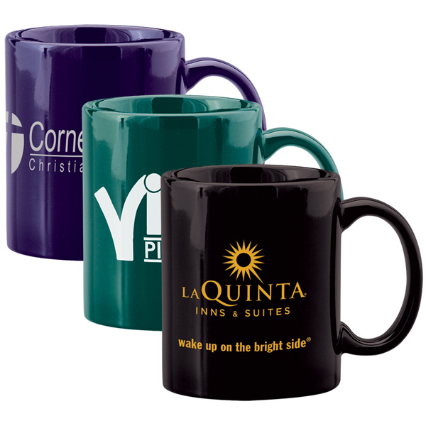 Custom 11 oz Ceramic C-Handle Coffee Mug - Colors