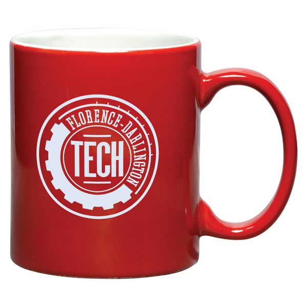 Promotional 11 oz. Ceramic Two-Tone Tuxedo Coffee Mug, Red