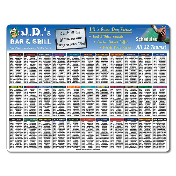 Custom Laminated Card Football Schedule - 11x8.5 - 14 pt