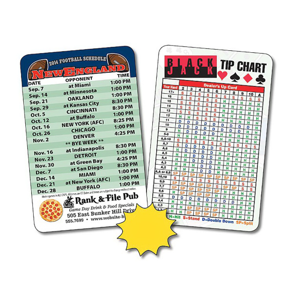 Customized Laminated Wallet Card - 3.5 x 2.25 Football Schedule - 14pt