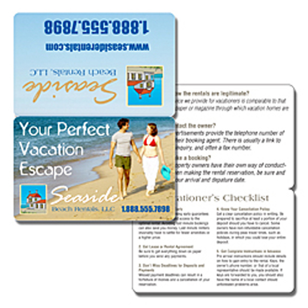 Custom Wallet Card - 3.5x4.5 (Flat Size) Laminated Bi-Fold - 14 pt