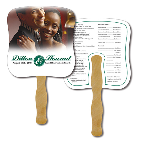 Custom Hand Fan - 7.375x7.75 Laminated
