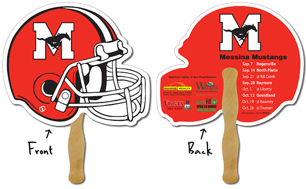 "Personalized Sport Hand Fan - 10"" x 8.5"" Football Helmet Shape"