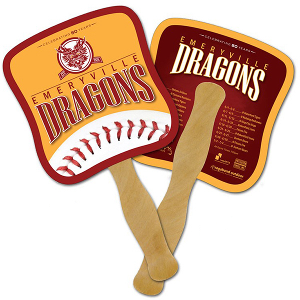 Promotional Mini Hand Fan - 5.25 x 5.5 Laminated