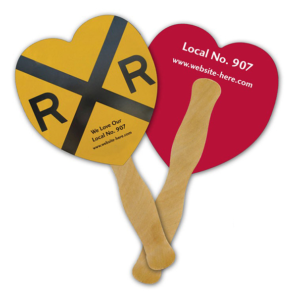 Personalized Mini Hand Fan - 5.25 x 5.5 Heart Shaped
