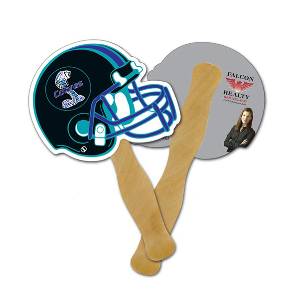 Printed Mini Hand Fan - 5.25 x 5 Football Helmet Shaped