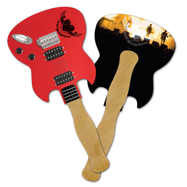 Personalized Mini Hand Fan - 5.25 x 5.5 Guitar Shaped