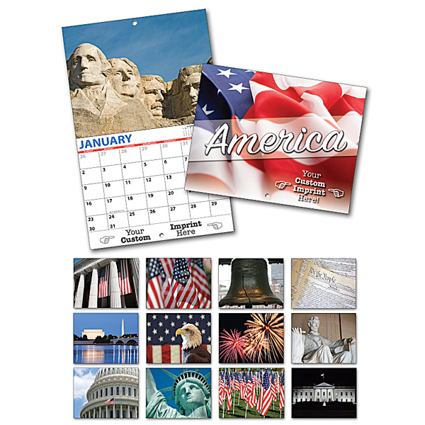 Imprinted 13 Month Custom Appointment Wall Calendar - PATRIOTIC