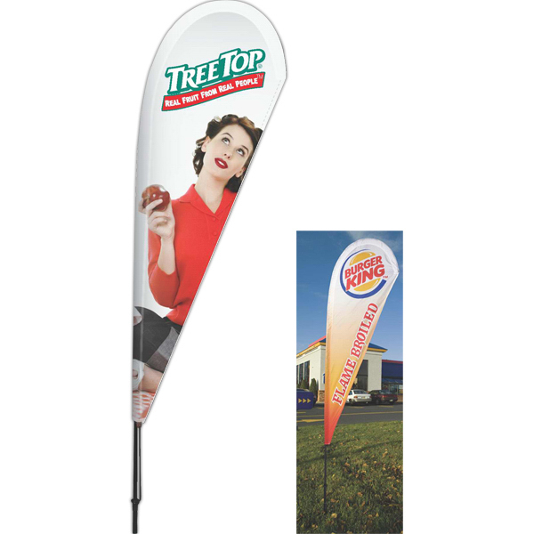 Printed Small Teardrop Vertical Banner Flag, 2 Sided Rush
