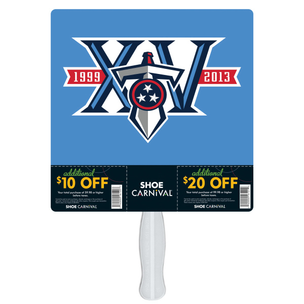 "Promotional 9"" Square with perfs coupon fan"