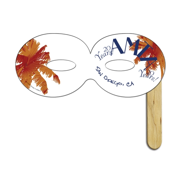 Imprinted Round Digital Printed Mask on a Stick