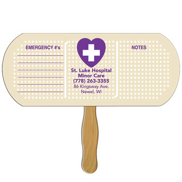 Imprinted Band aid/Pill fast fan