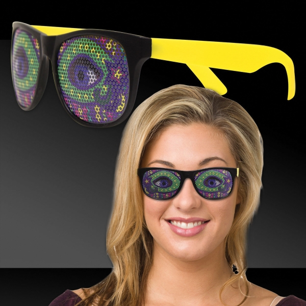 Printed Mardi Gras Eyes Yellow Billboard Sunglasses