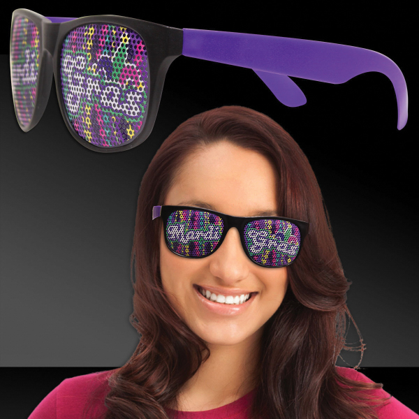 Printed Mardi Gras Beads Purple Billboard Sunglasses