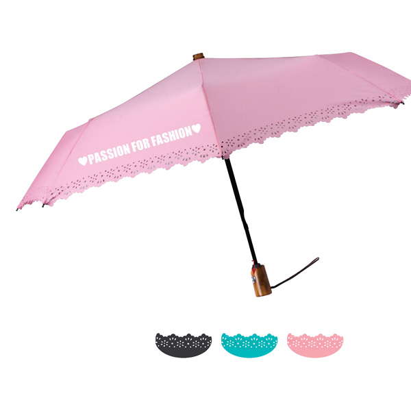 Promotional Eyelet Fashion Folding Umbrella With Automatic Open & Close