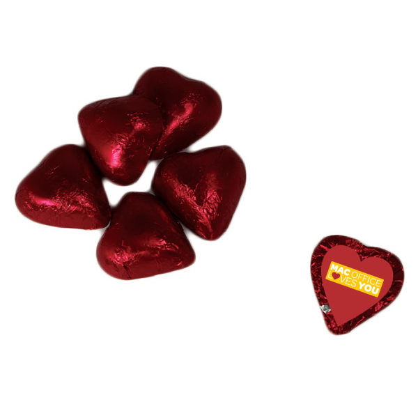Custom Chocolate Hearts - Red