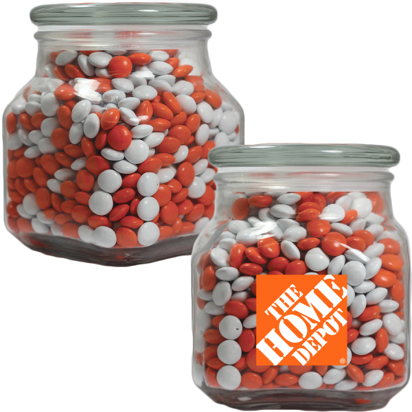 Imprinted Large Apothecary Jar with Corporate Chocolate -  Glass Jar