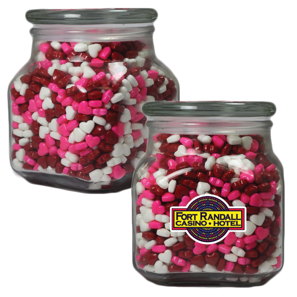 Printed Large Apothecary Jar with Candy Hearts -  Glass Jar