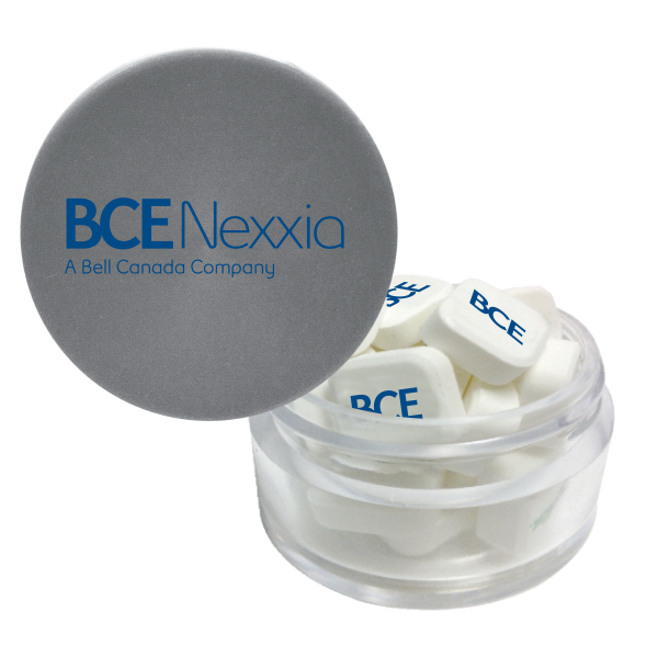 Printed Twist Top Container Silver Cap filled with Printed Mints