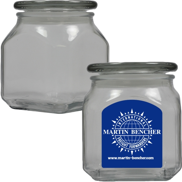 Printed Apothecary Jar Empty - Glass Jar - Medium
