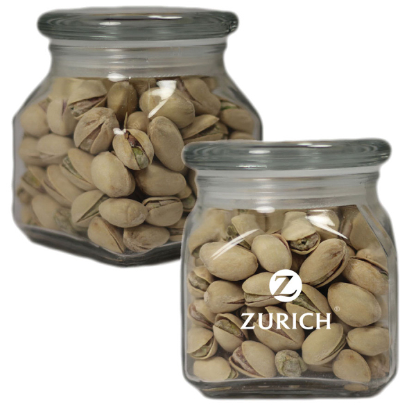 Printed Apothecary Jar with Pistachio Nuts- Glass Jar - Small