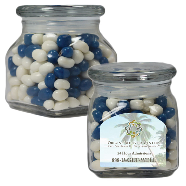 Promotional Apothecary Jar with Corporate Jelly Bean - Glass Jar - Small