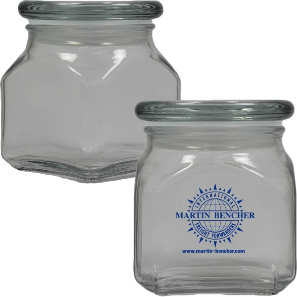 Printed Apothecary Jar Empty - Glass Jar - Small