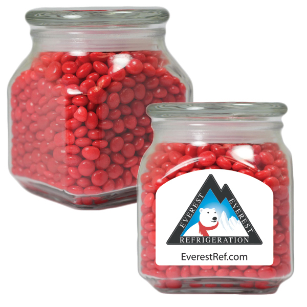 Printed Apothecary Jar with Cinnamon Red Hots - Glass Candy Jar
