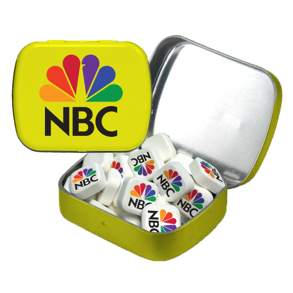 Promotional Small White Mint Tin with Printed Mints