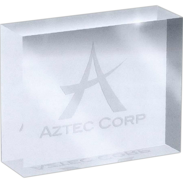 Printed Etched imprint rectangle crystal weight
