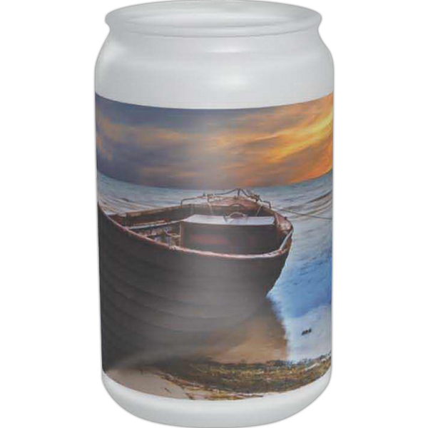 Printed Full color frosted can glass, 16 oz