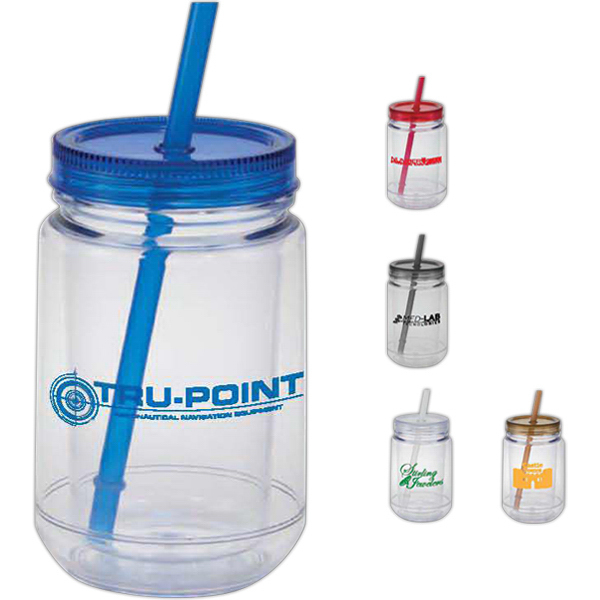 Imprinted Double wall acrylic mason jar with straw - 15 oz