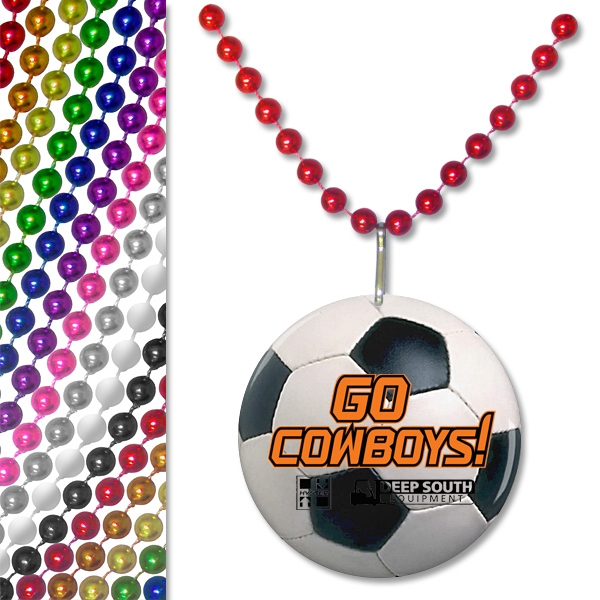 "Imprinted 33"" Soccer Ball Pendant Bead Necklace"
