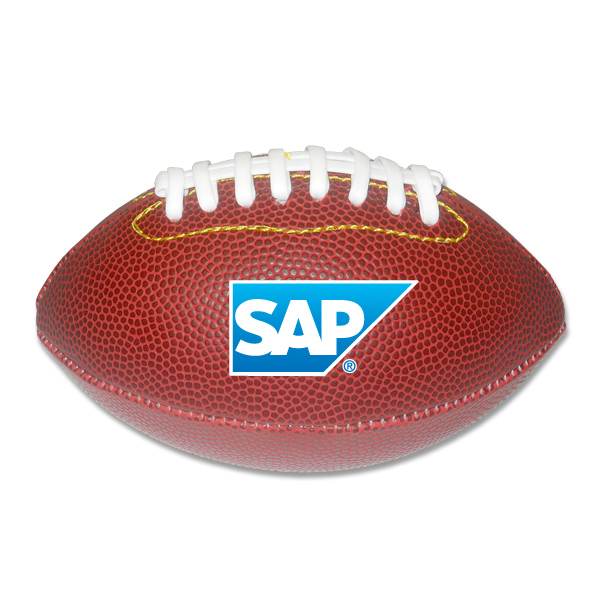 "Imprinted 7"" Leather like football with multi-color print"